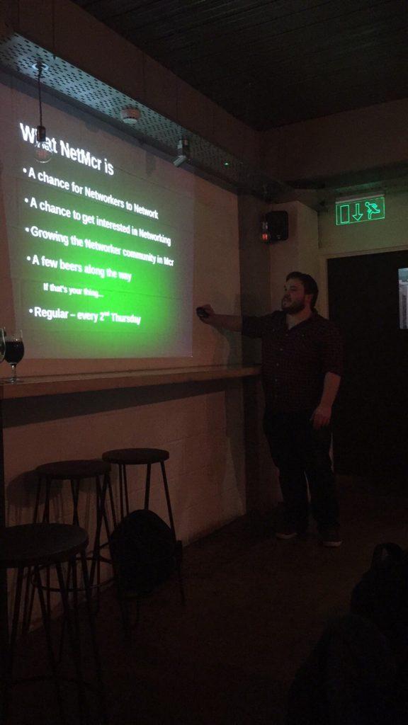 Tom presenting the NetMcr welcome slides
